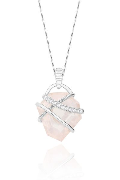 Pingentes De Prata com Quartzo rosa - Louise