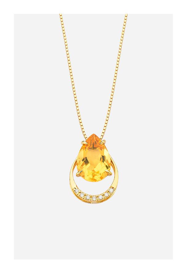 Pingente em Ouro Amarelo com Diamante e Citrino