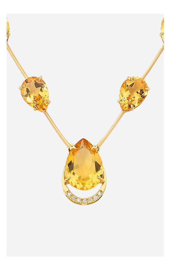 Colar em Ouro Amarelo com Diamante e Citrino