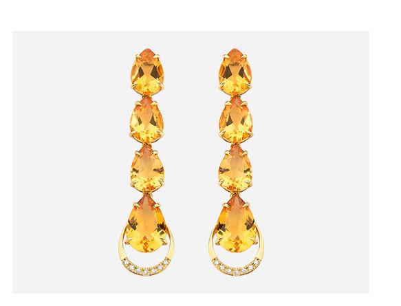 Brinco em Ouro Amarelo com Diamante e Citrino