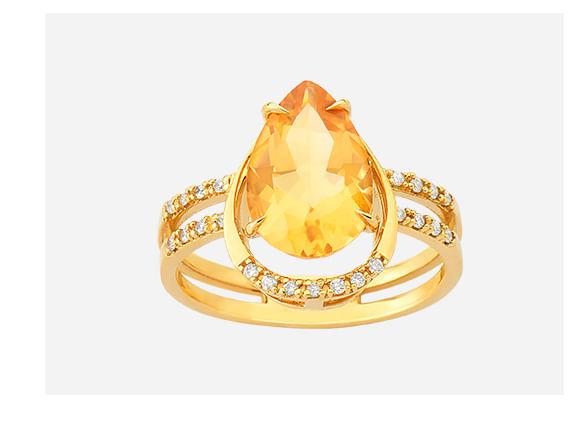 Anel em Ouro Amarelo com Diamante e Citrino