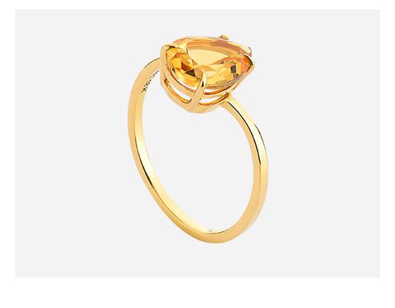 Anel em Ouro Amarelo com Citrino
