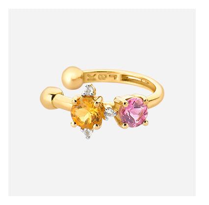 Piercing em Ouro Amarelo com Citrino, Topázio Incolor, Turmalina Rosa