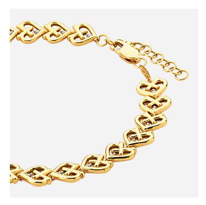 Pulseira em Ouro Amarelo com Diamante - 19 cm