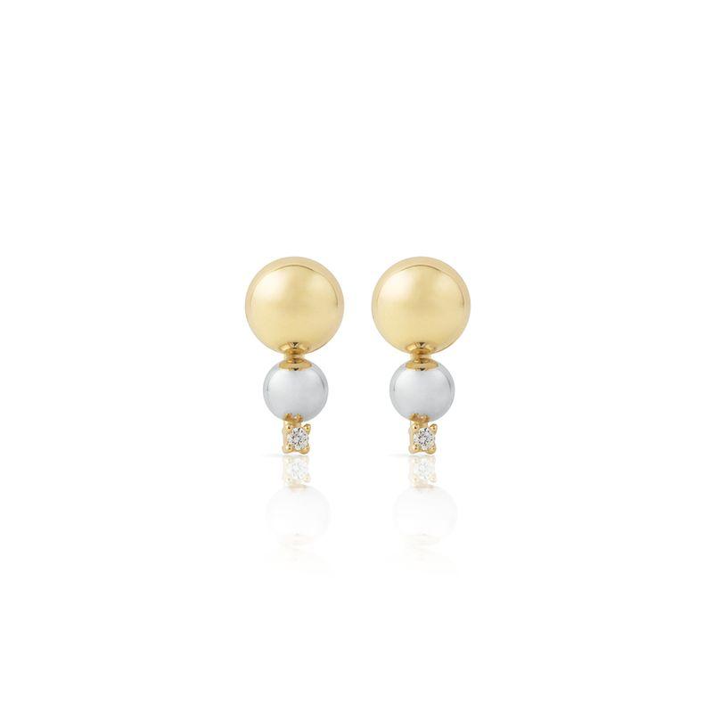 Brinco em Ouro Amarelo E Branco 18K com Diamante-Dots