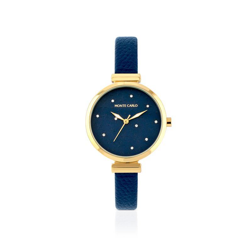 relogio-dourado-com-zirconias-mostrador-estampado-e-pulseira-de-couro-azul