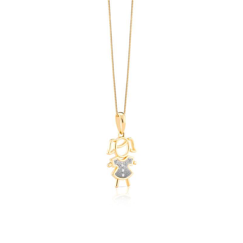 Pingente em Ouro Amarelo 18K com Diamante - Meus Amores