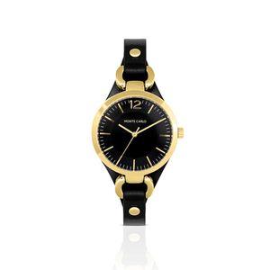 relogio-dourado-com-pulseira-de-couro-preta