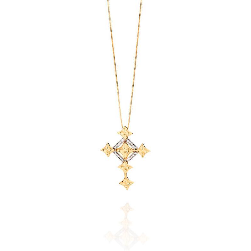 Pingente em Ouro Amarelo 18K com Diamante - Fé: Cruz