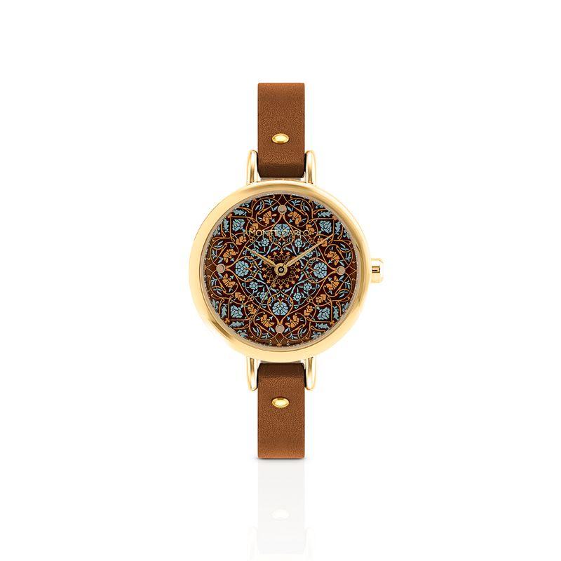 relogio-dourado-com-pulseira-de-couro-marrom-e-mostrador-com-estampa-floral