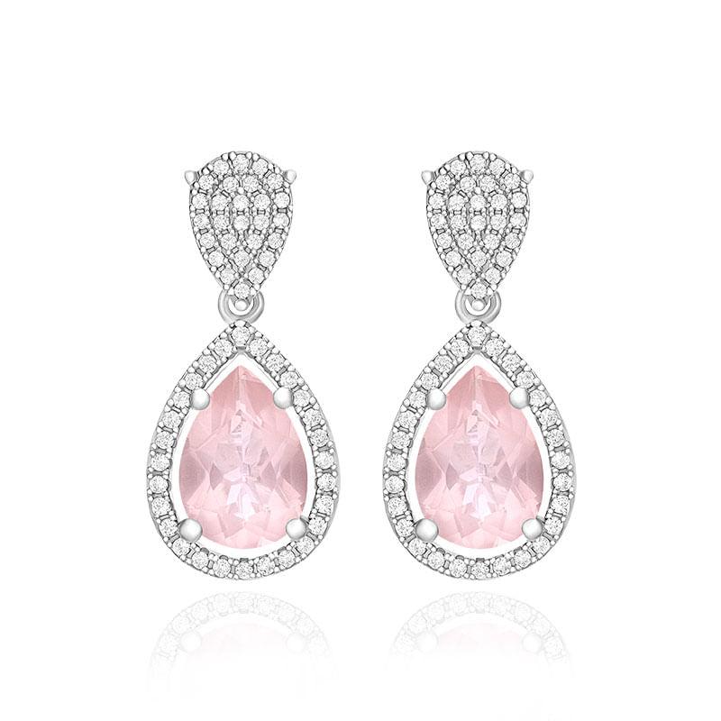 Resultado de imagem para brinco quartzo rosa