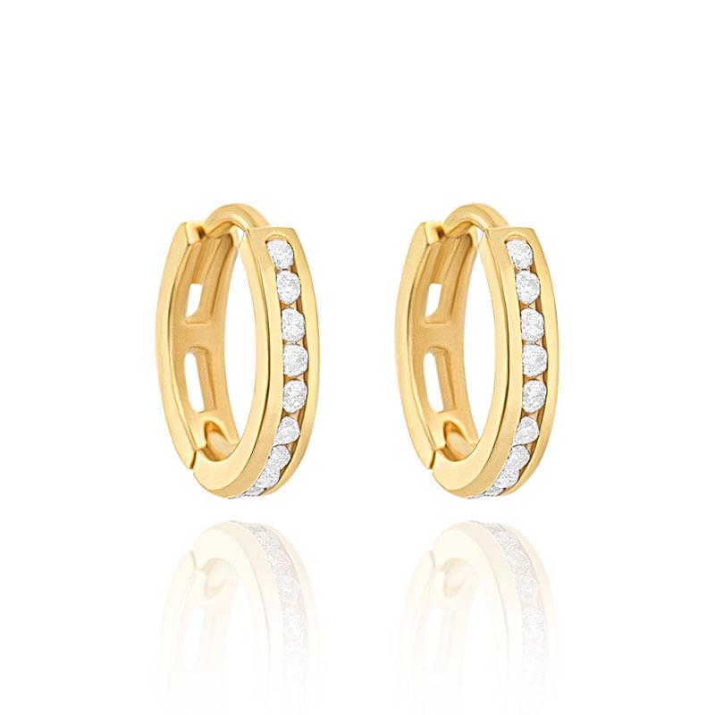 bce19e7033fd9 Argola em Ouro Amarelo 18K com Diamante - montecarlo