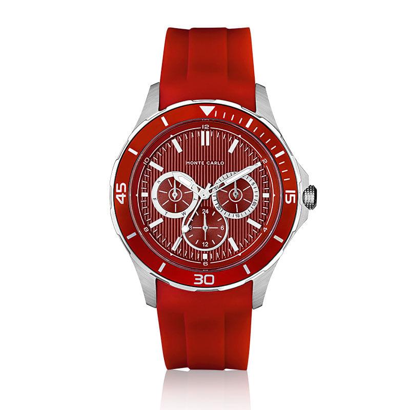 cfbc188adc1 Relógio Monte Carlo Masculino em Silicone Vermelho - montecarlo