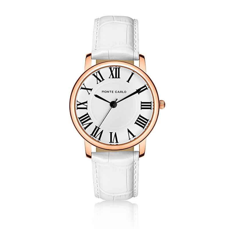 29681adf3c5 Relógio Monte Carlo Feminino em Couro Branco - montecarlo