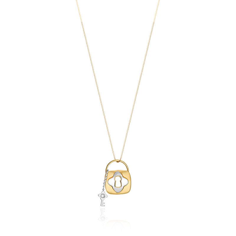 dd12ff7654 Pingente em Ouro Amarelo E Branco 18K com Diamante - montecarlo