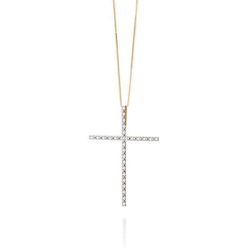bf025f1a256c6 Pingente em Ouro Branco 18K com Diamante - FE CRUZ - montecarlo