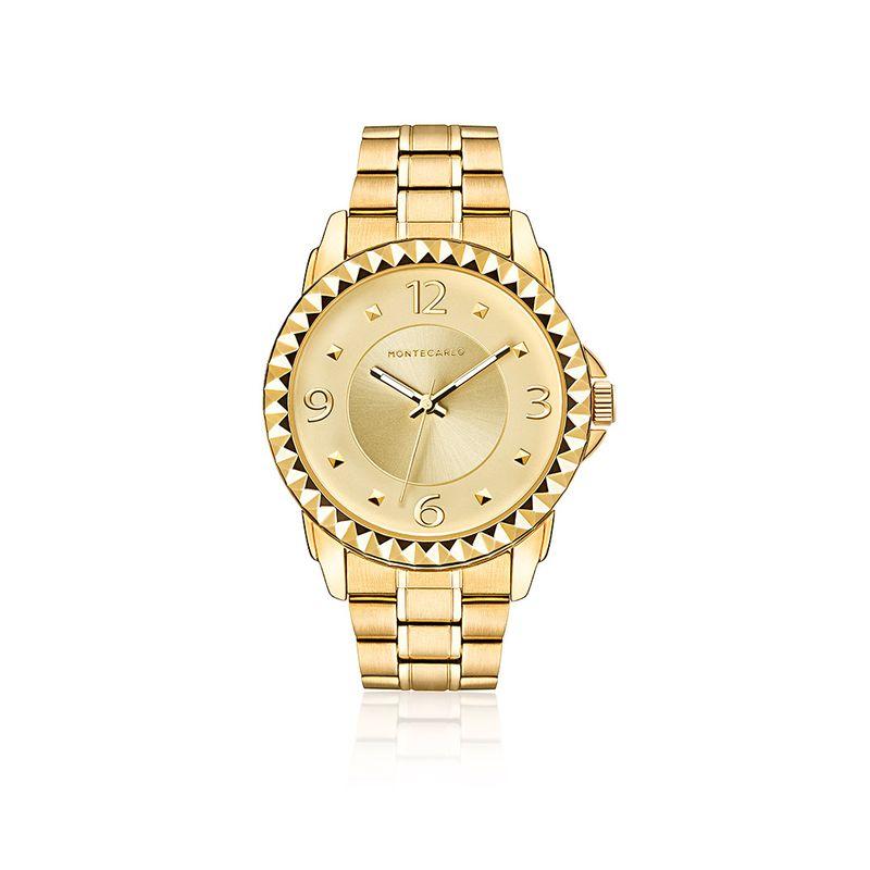 dd8ab4f85ba04 Relógio Monte Carlo Feminino em Aço Dourado - montecarlo