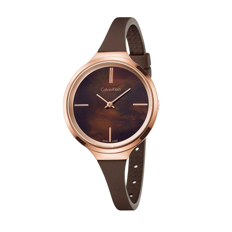 f47e0b66e09 Relógio Calvin Klein Feminino em Silicone Marrom - montecarlo