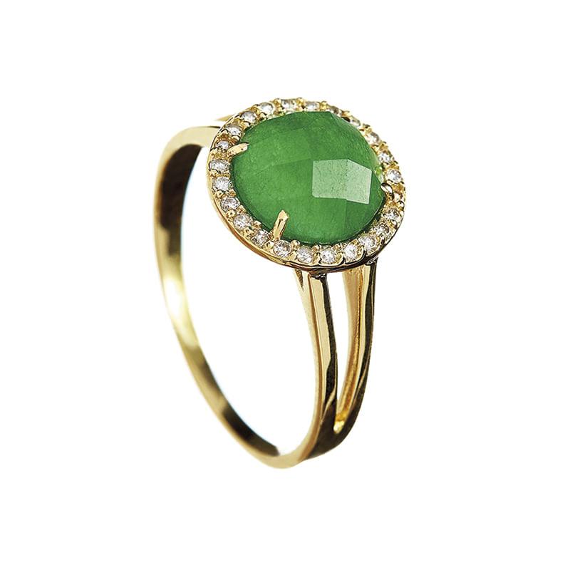b60a74b5e Anel em Ouro Amarelo 18K com Diamante, Quartzo Verde - montecarlo