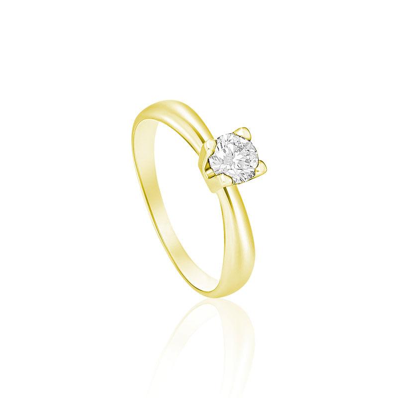 Anel Solitário em Ouro Amarelo 18K com Diamante FOREVER - montecarlo ba34333f77