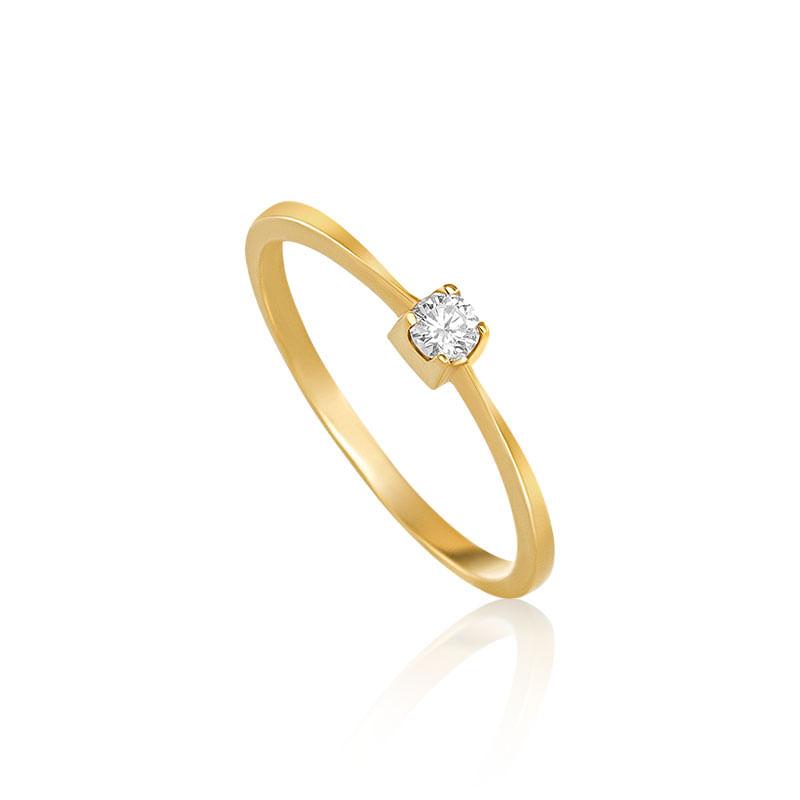 Anel Solitário em Ouro Amarelo 18K com Diamante FOREVER - montecarlo 0d05fab973