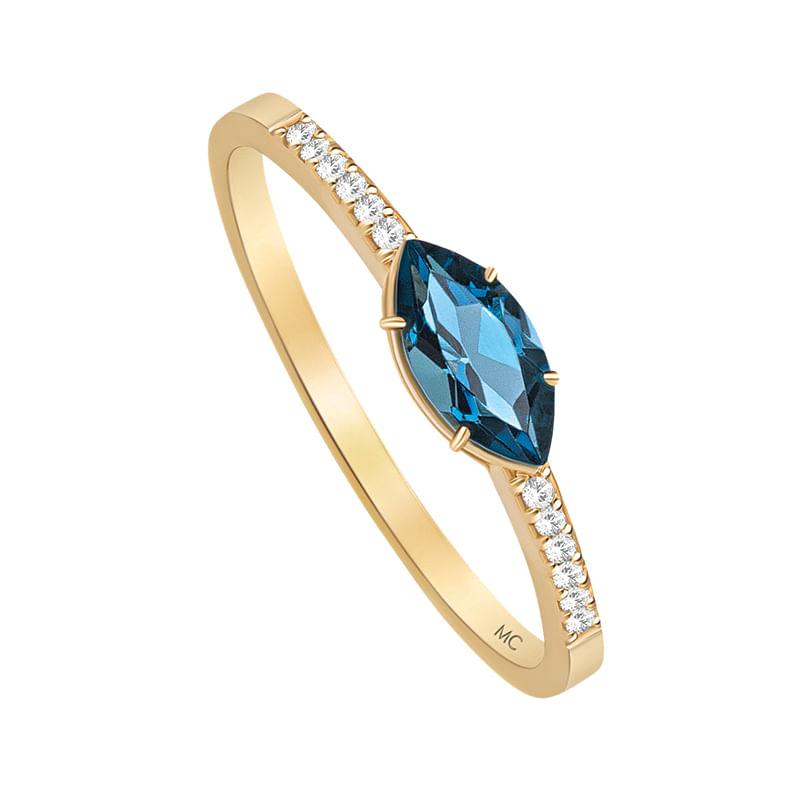 Anel em Ouro Amarelo 18K com Diamante, Topázio London - montecarlo 2d018e6515