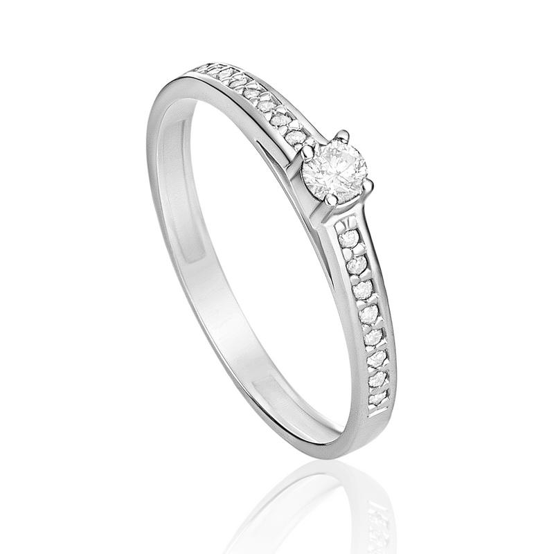 Anel Solitário em Ouro Branco 18K com Diamante SOLITARIOS - montecarlo 5a614112da