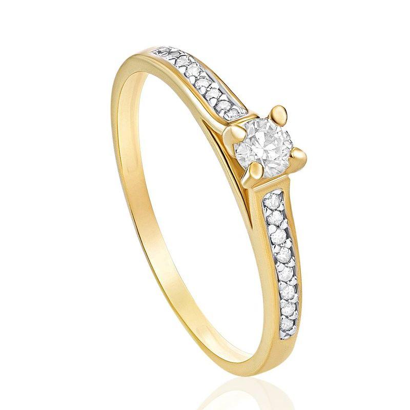 063da26712466 Anel Solitário em Ouro Amarelo 18K com Diamante - montecarlo