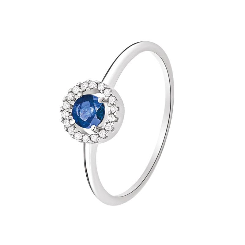 Anel em Ouro Branco 18K com Diamante, Safira Azul - montecarlo b3ea8bac13