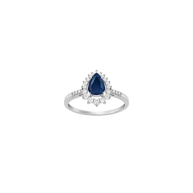 Anel em Ouro Branco 18K com Diamante e Safira Azul - montecarlo fd6af1a5b9