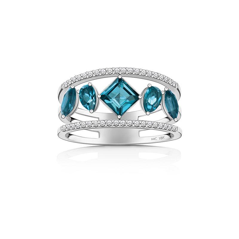e9d50611d2b37 Anel em Ouro Branco 18K com Diamante, Topázio London - MEDITERRÂNEO