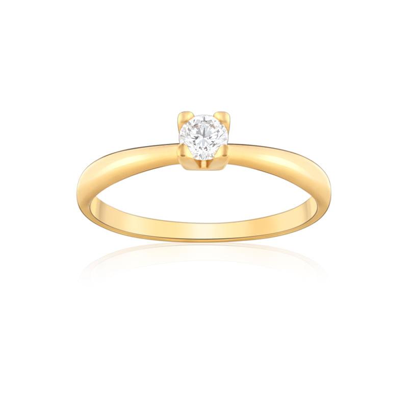292a3092e Anel Solitário em Ouro Amarelo 18K com Diamante FOREVER - montecarlo